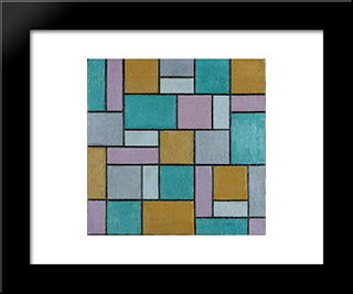 Composition Xvii: Modern Black Framed Art Print by Theo van Doesburg