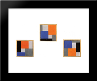Composition Xviii In Three Parts: Modern Black Framed Art Print by Theo van Doesburg