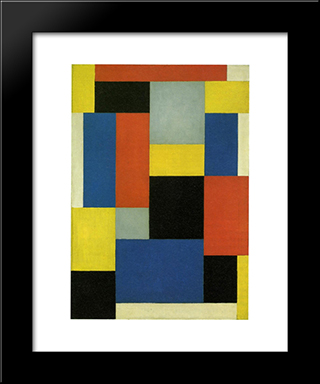 Composition Xx: Modern Black Framed Art Print by Theo van Doesburg