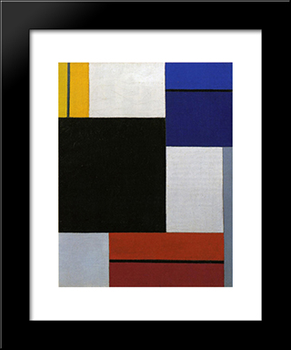 Composition Xxi: Modern Black Framed Art Print by Theo van Doesburg