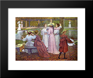 A Reading In The Garden: Modern Black Framed Art Print by Theo van Rysselberghe
