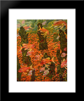 Aquarium: Modern Black Framed Art Print by Theo van Rysselberghe