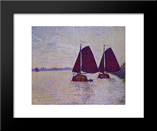 Barges On The River Scheldt: Modern Black Framed Art Print by Theo van Rysselberghe