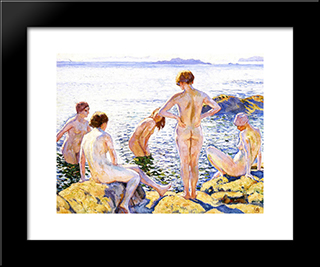 Bathers: Modern Black Framed Art Print by Theo van Rysselberghe