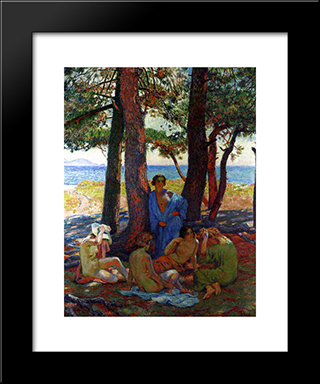 Bathers Under The Pines By The Sea: Modern Black Framed Art Print by Theo van Rysselberghe