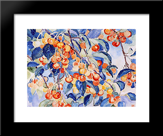 Cherries: Modern Black Framed Art Print by Theo van Rysselberghe