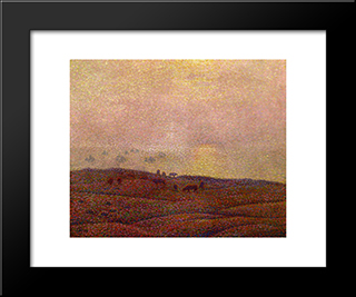 Cows In A Landscape: Modern Black Framed Art Print by Theo van Rysselberghe