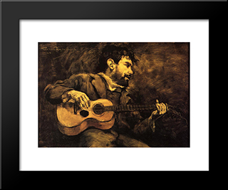 Dario De Regoyos Playing The Guitar: Modern Black Framed Art Print by Theo van Rysselberghe