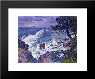 East Wind: Modern Black Framed Art Print by Theo van Rysselberghe