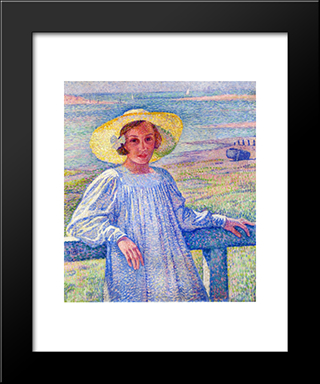 Elisaeth Van Rysselberghe In A Straw Hat: Modern Black Framed Art Print by Theo van Rysselberghe