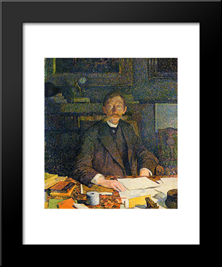 Emile Verhaeren In His Study: Modern Black Framed Art Print by Theo van Rysselberghe