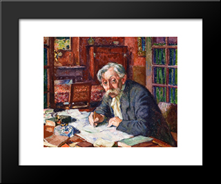 Emile Verhaeren Writing: Modern Black Framed Art Print by Theo van Rysselberghe