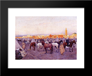 Encampment Near A Moroccan Village: Modern Black Framed Art Print by Theo van Rysselberghe