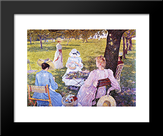 Family In The Orchard: Modern Black Framed Art Print by Theo van Rysselberghe