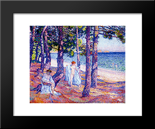 Female Bathers Under The Pines At Cavaliere: Modern Black Framed Art Print by Theo van Rysselberghe