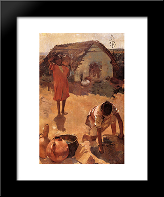 Figures Near A Well In Morocco: Modern Black Framed Art Print by Theo van Rysselberghe