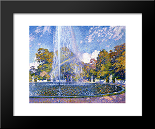 Fountain At San Souci: Modern Black Framed Art Print by Theo van Rysselberghe