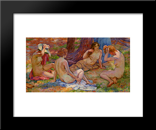 Four Bathers: Modern Black Framed Art Print by Theo van Rysselberghe