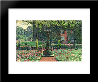 Garden In Summer: Modern Black Framed Art Print by Theo van Rysselberghe