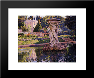 Garden With Villa And Fountain: Modern Black Framed Art Print by Theo van Rysselberghe