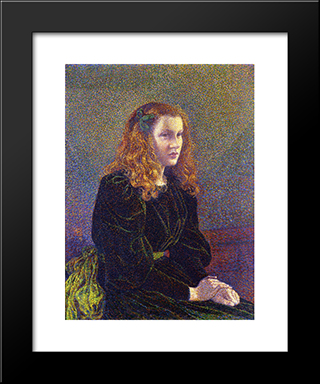 Girl In Green: Modern Black Framed Art Print by Theo van Rysselberghe