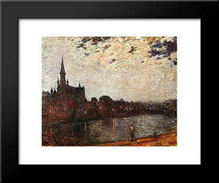 Holy Cross Church At Ixelles At Night: Modern Black Framed Art Print by Theo van Rysselberghe