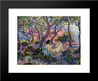 In The Shade Of The Pines: Modern Black Framed Art Print by Theo van Rysselberghe