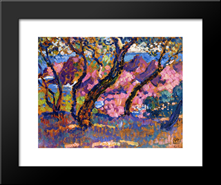 In The Shade Of The Pines (Study): Modern Black Framed Art Print by Theo van Rysselberghe