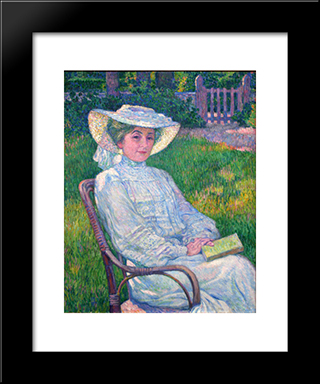 Lady In White, Portrait Of Mrs. Theo Van Rysselberghe: Modern Black Framed Art Print by Theo van Rysselberghe