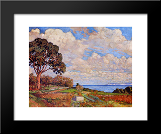 Large Tree Near The Sea: Modern Black Framed Art Print by Theo van Rysselberghe