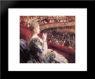 Madame Edmond Picard In Her Box At Theatre De La Monnaie: Modern Black Framed Art Print by Theo van Rysselberghe