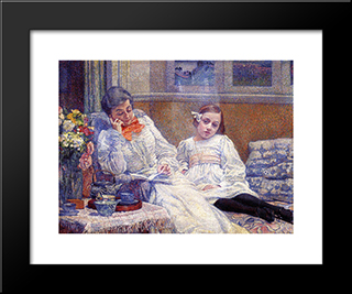 Madame Theo Van Rysselberghe And Her Daughter: Modern Black Framed Art Print by Theo van Rysselberghe