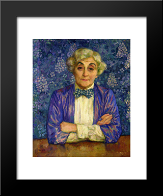 Madame Van Rysselberghe In A Chedkered Bow Tie: Modern Black Framed Art Print by Theo van Rysselberghe