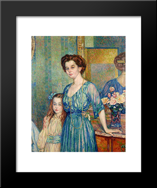 Madame Von Bodenhausen With Her Daughter Luli: Modern Black Framed Art Print by Theo van Rysselberghe
