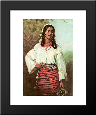 Gipsy Girl: Modern Black Framed Art Print by Theodor Aman