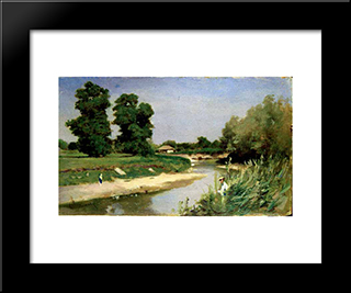 Landscape With River And Trees: Modern Black Framed Art Print by Theodor Aman