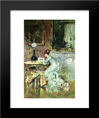 Looking In An Album: Modern Black Framed Art Print by Theodor Aman