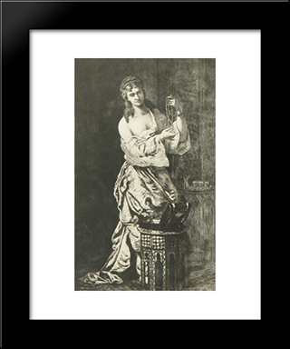 Odalisque With Pearls: Modern Black Framed Art Print by Theodor Aman