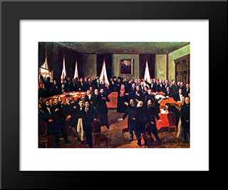 Proclaiming The Union: Modern Black Framed Art Print by Theodor Aman
