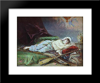 Reclining Odalisque: Modern Black Framed Art Print by Theodor Aman