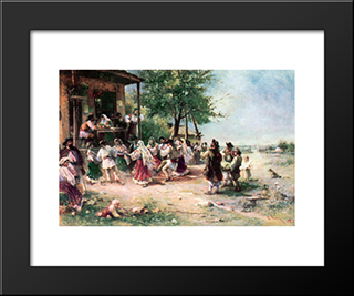 Round-Dance At Aninoasa: Modern Black Framed Art Print by Theodor Aman