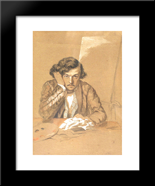 Self-Portrait: Modern Black Framed Art Print by Theodor Aman