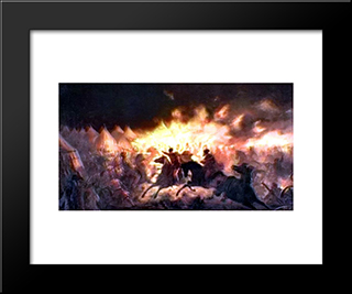 The Battle With Torches: Modern Black Framed Art Print by Theodor Aman