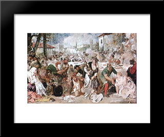 The Feasting Boyars Taken By Surprise By Vlad The Impaler'S Envoys: Modern Black Framed Art Print by Theodor Aman