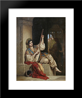 The Lute Singer: Modern Black Framed Art Print by Theodor Aman