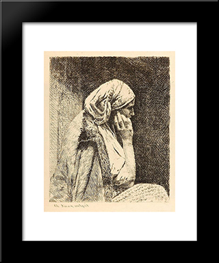 The Worry: Modern Black Framed Art Print by Theodor Aman