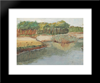 Lakeshore: Modern Black Framed Art Print by Theodor Pallady