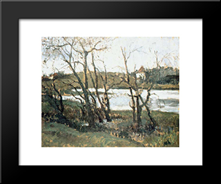 Landscape With Lake: Modern Black Framed Art Print by Theodor Pallady