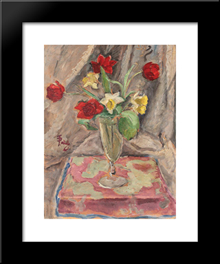 Narcissus And Lilies: Modern Black Framed Art Print by Theodor Pallady