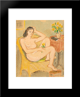 Nude In Chair: Modern Black Framed Art Print by Theodor Pallady